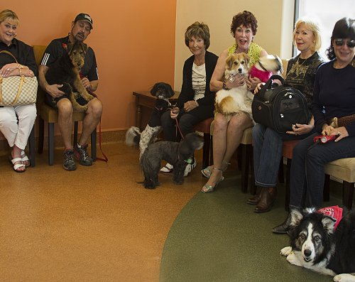 Pet owners waiting in the lobby with their pets